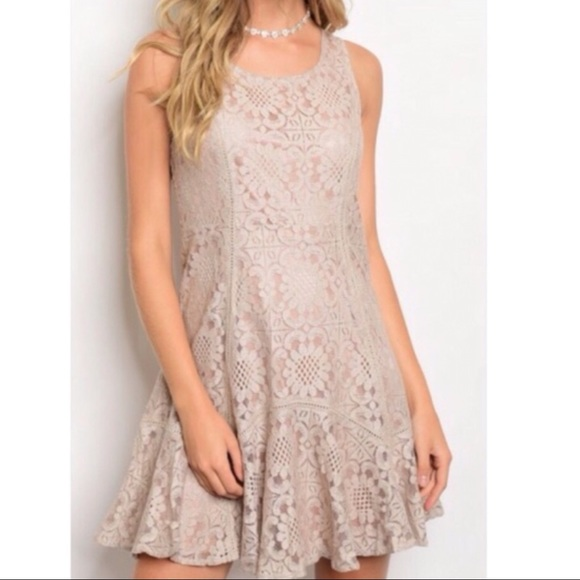 Dresses & Skirts - Taupe Lace Dress